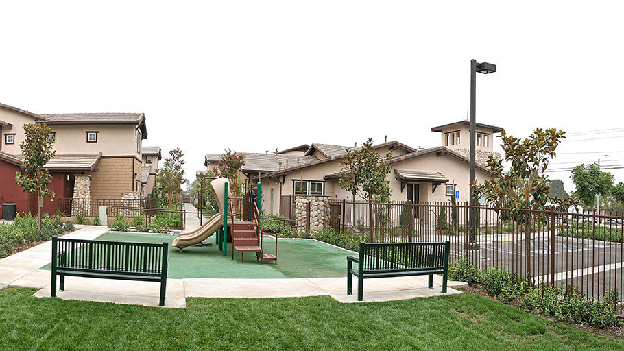 Jamboree's Ceres Court affordable housing community tot lot Fontana CA