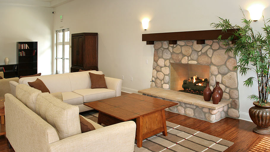 Jamboree's affordable Ceres Court community building fireplace Fontana