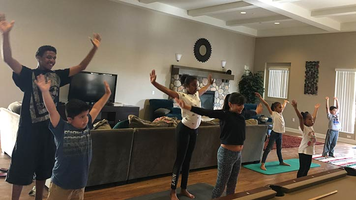 Jamboree residents at Ceres Way in Fontana learn yoga.