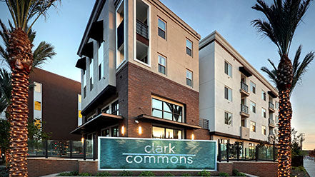 Jamboree's award-winning affordable housing community Clark Commons, Buena Park.