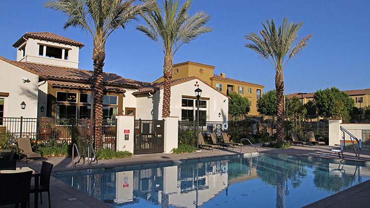 Jamboree supportive affordable housing community pool in Irvine, CA.
