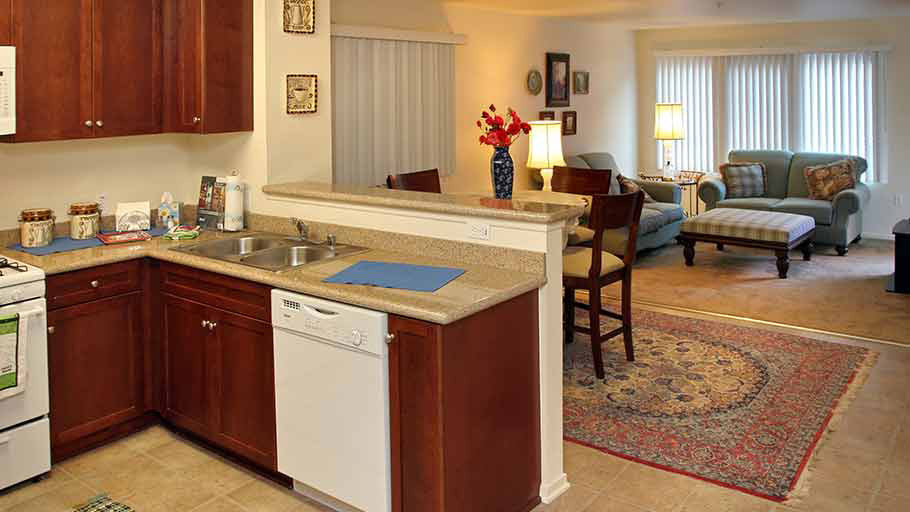 Jamboree's Granite Court Irvine, CA affordable community family unit kitchen