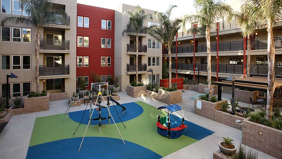 Jamboree affordable Granite Court high-tech housing Irvine CA totlot
