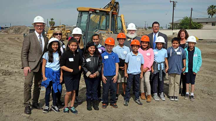 Jamboree's ground breaking ceremony at Clark Commons in Buena Park with children from Mable Pendleton.