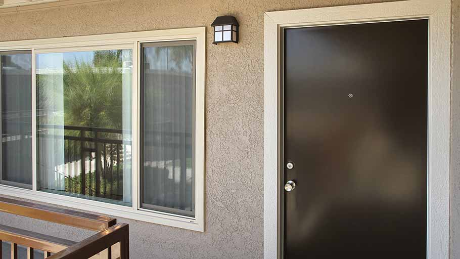 Jamboree affordable Grove Park resident unit frontdoor in Garden Grove