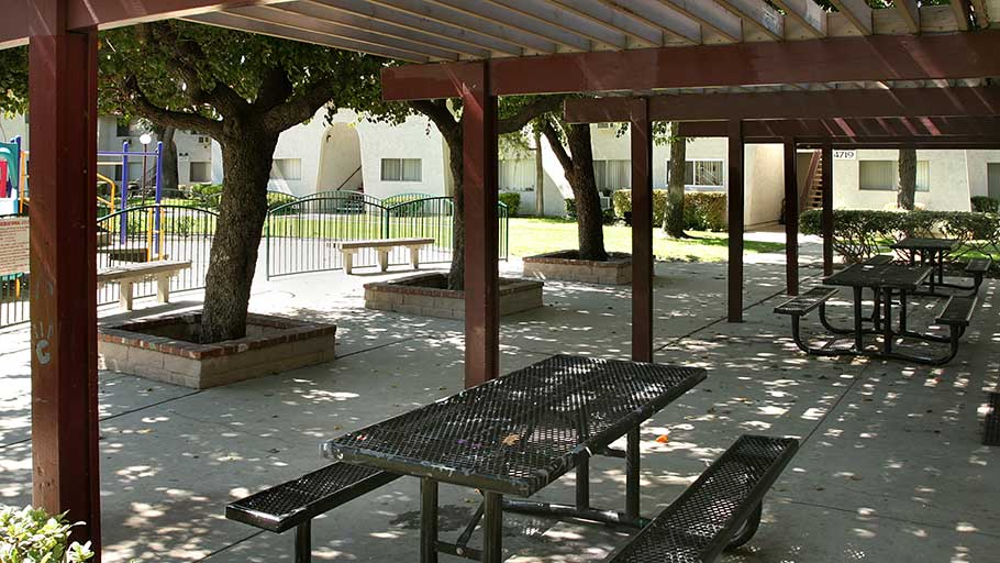 Jamboree's La Puente Park affordable family community patio area in La Puente,CA
