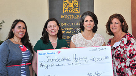 Jamboree's Marcy Finamore with Laura Archuleta and Bank of America staff at Bonterra in Brea, CA