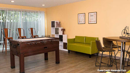 Renovated game room at Miracle Terrace senior community in Anaheim,CA