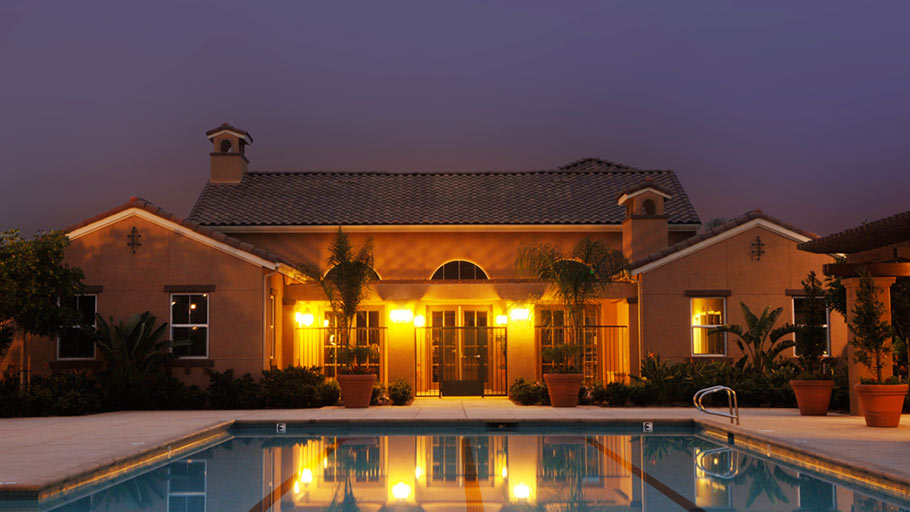Jamboree's Montecito Vista, Irvine, CA affordable community pool twilight