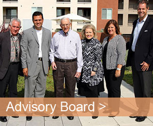 Jamboree Advisory Board members and Laura Archuleta on green deck at Park Landing, Buena Park