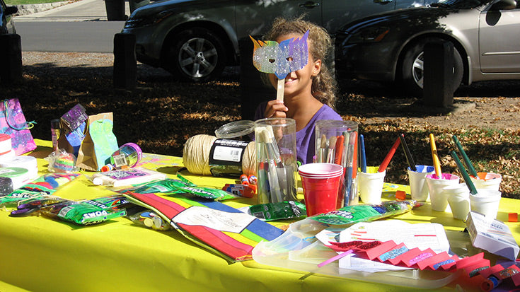 Arts and crafts table at Jamboree event.