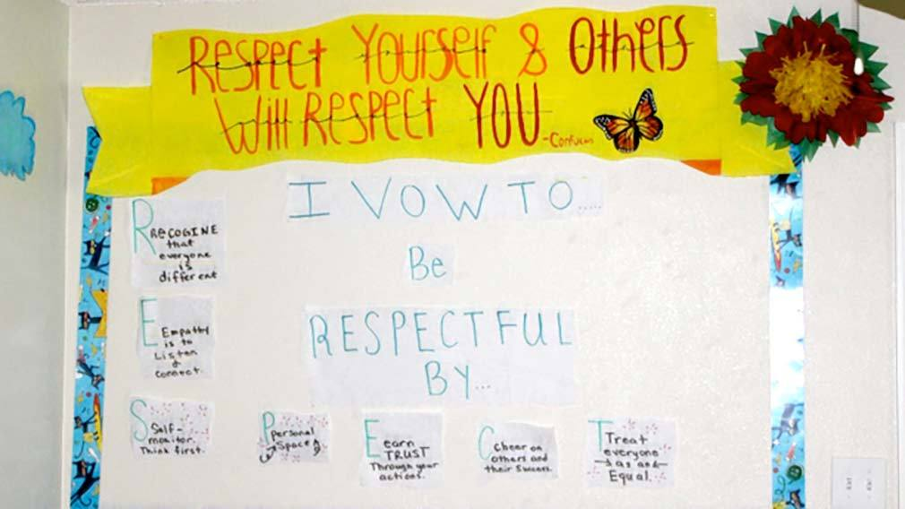 Jamboree's children write down their vows to be respectful during their REACH program