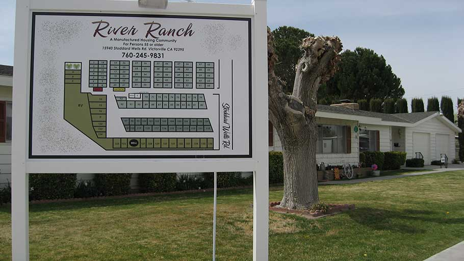 River Ranch in Victorville, CA, affordable mobilehome park entrance.