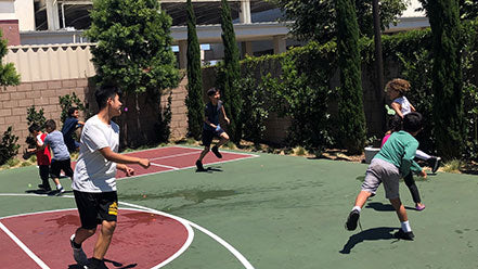 Children at Rockwood's basketball summer camp in Anaheim, CA