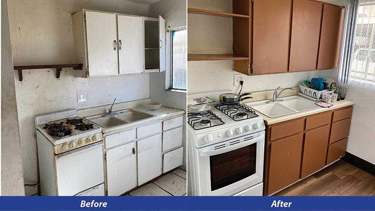Kitchen Before and After, Jamboree's motel conversion of Tahiti Inn into permanent supportive housing in Stanton, CA