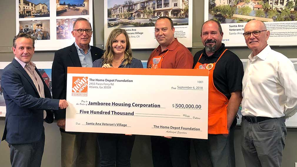 Jamboree receives grant from The Home Depot Foundation for Veterans Village, exclusive veterans affordable housing
