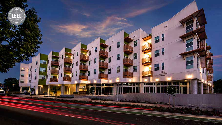 Jamboree's West Gateway Place LEED gold designed affordable housing.