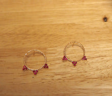 Load image into Gallery viewer, Front Facing Hammered Hoop Earrings 18k Rose Gold with Rubies