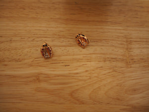 18k Rose Gold Ladybug Earrings with Diamonds and Rubies