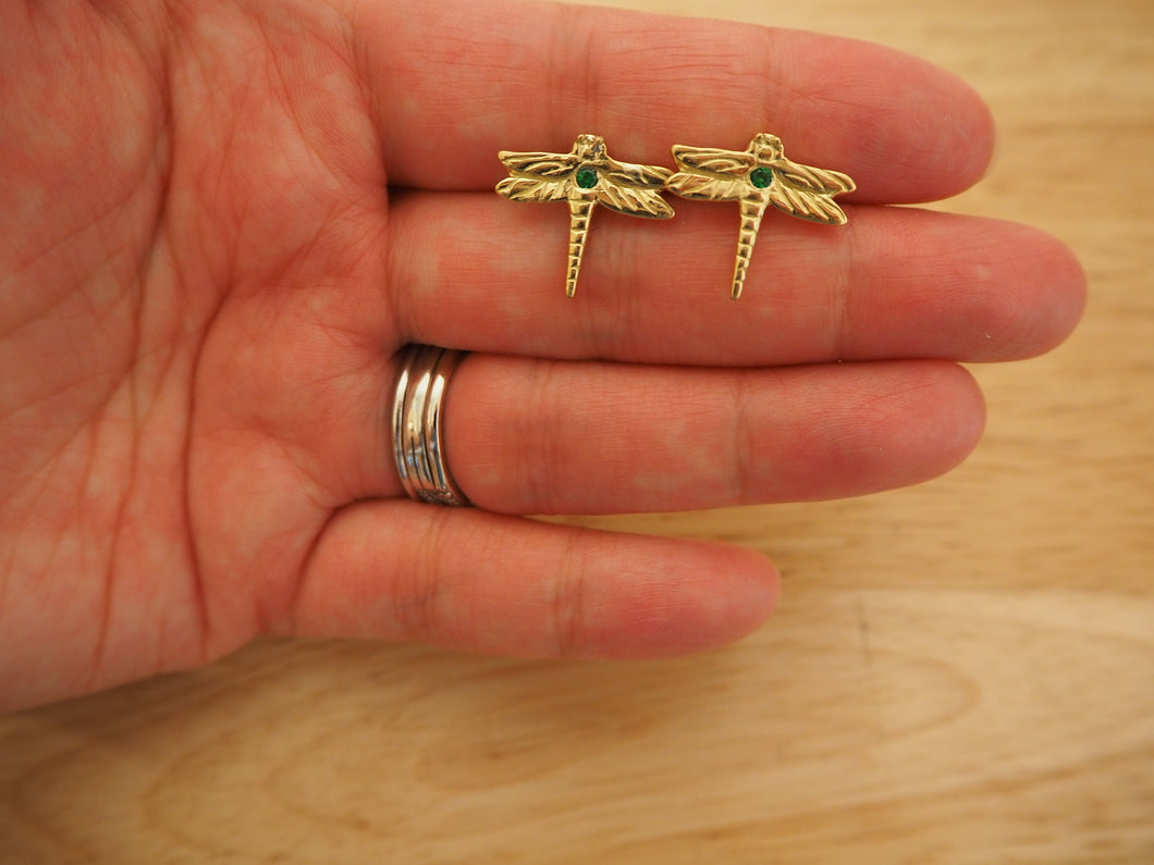 18k Gold Dragonfly Earrings with Tsavorite Garnet