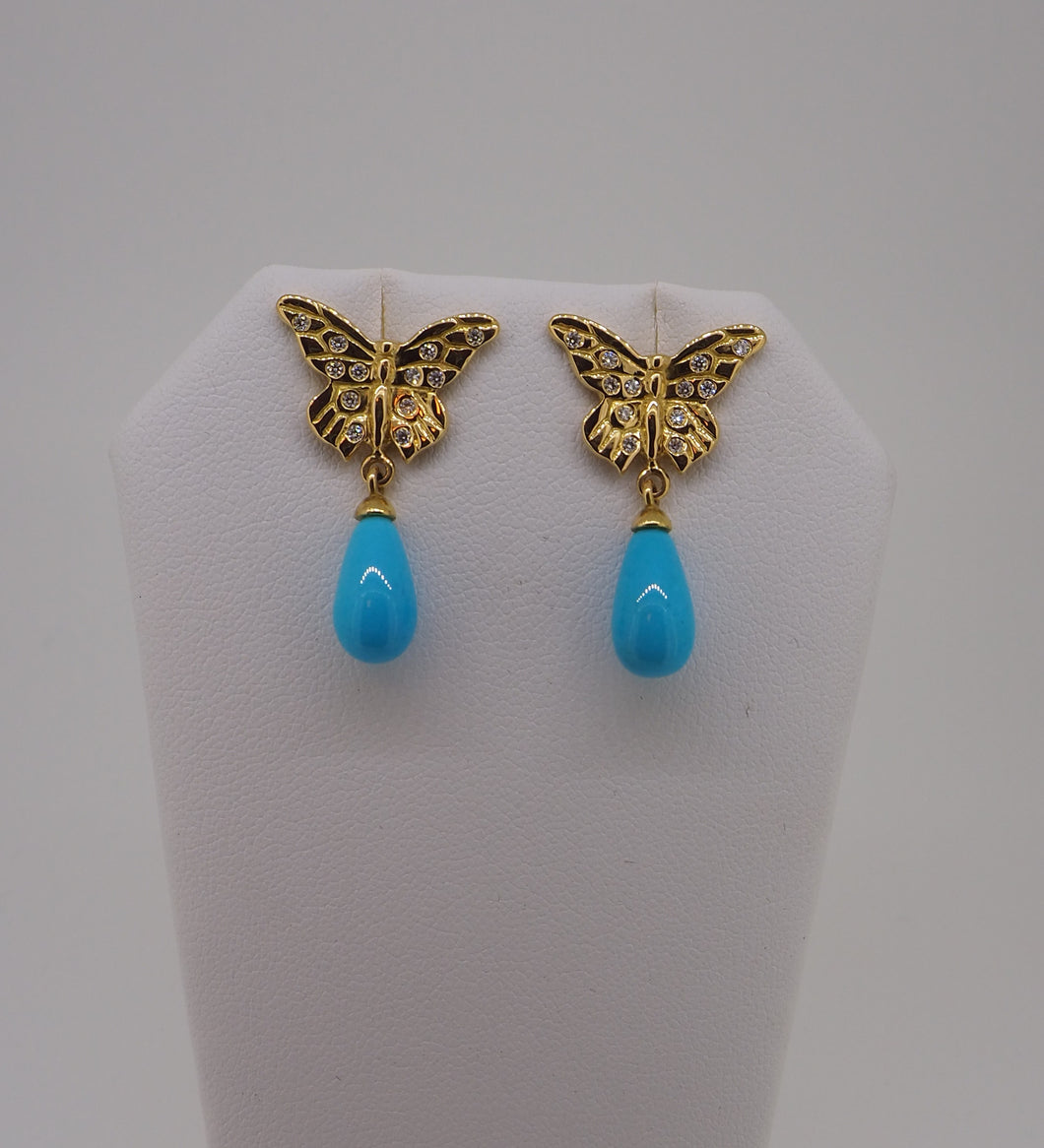 Diamond Butterfly Earrings with Sleeping Beauty Turquoise