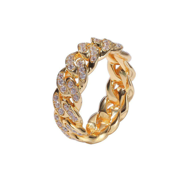 Limited Stock | Iced Cuban Link Ring Gold / 8