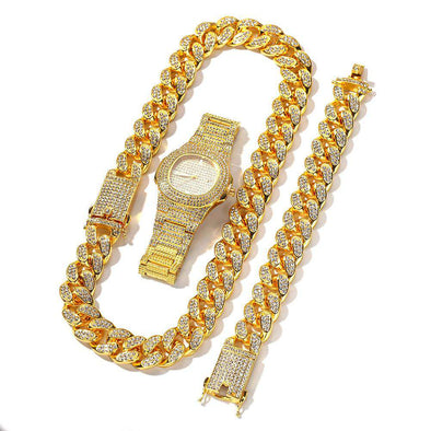 (Premium Set) Gold Cuban Chain & Bracelet Watch Yellow / 24Inch 8Inch