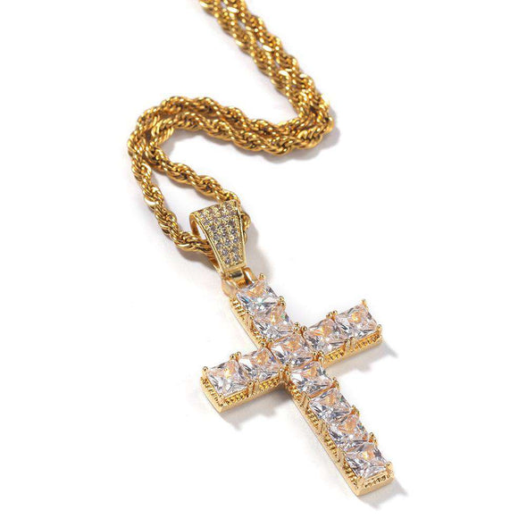 Bust-Down Cross Pendant Yellow Gold