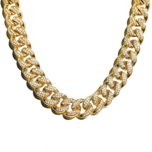 18Mm Diamond Cuban Link Chain Yellow Gold