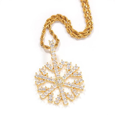 Bust-Bown Iced Snowflake Pendant