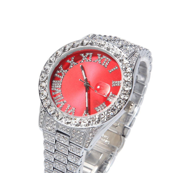 Bust-Down Red/green Face Premium Watch White Gold / Red