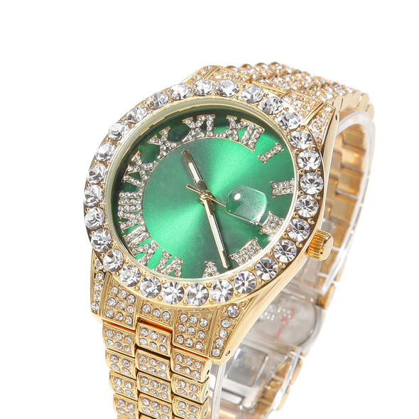Bust-Down Red/green Face Premium Watch Yellow Gold / Green