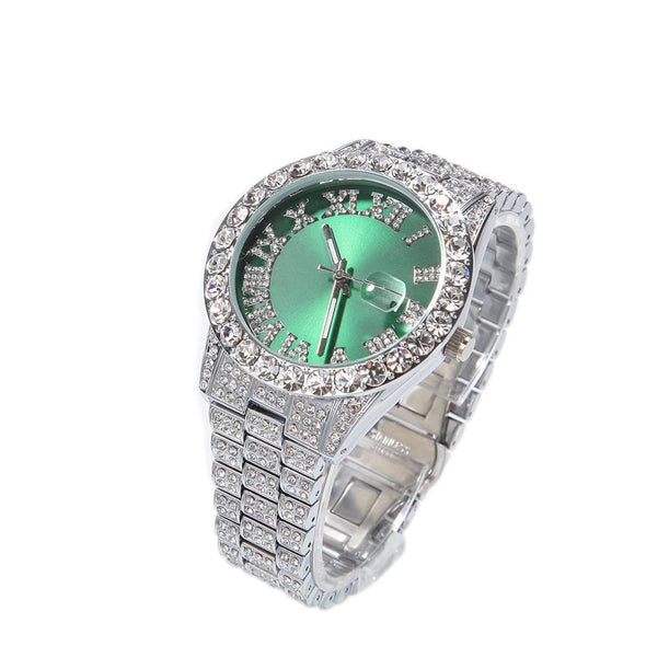 Bust-Down Red/green Face Premium Watch White Gold / Green