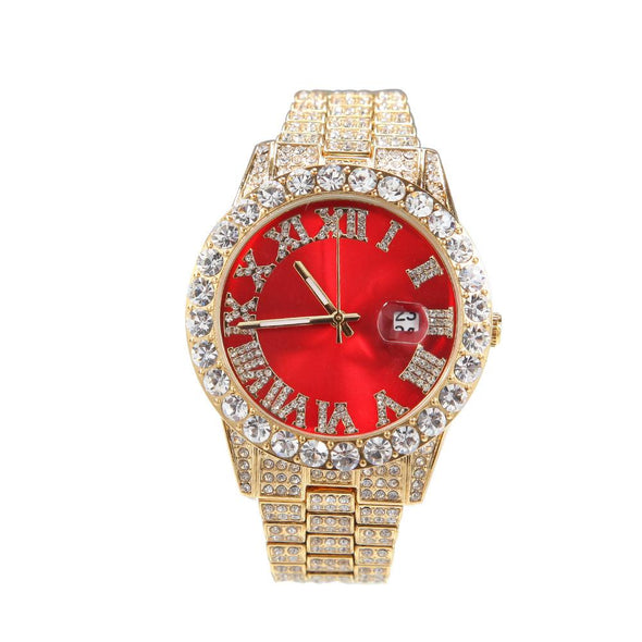 Bust-Down Red/green Face Premium Watch Yellow Gold / Red