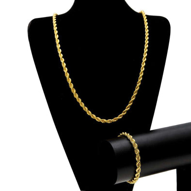 6Mm Gold Rope Chain Set Yellow