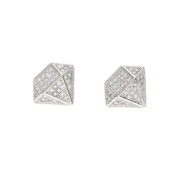 Big Diamond Earrings Silver