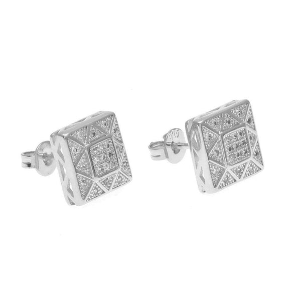 Big Cz Diamond Earrings Silver