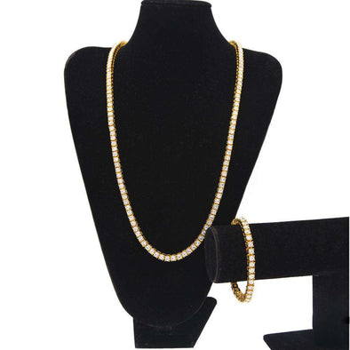 Tennis Chain & Bracelet Set Gold / 8Inch And 30Inch