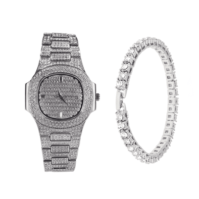 Gold Royal Iced Watch & Tennis Bracelet Set +