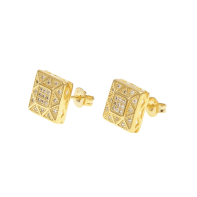 Big Cz Diamond Earrings Gold