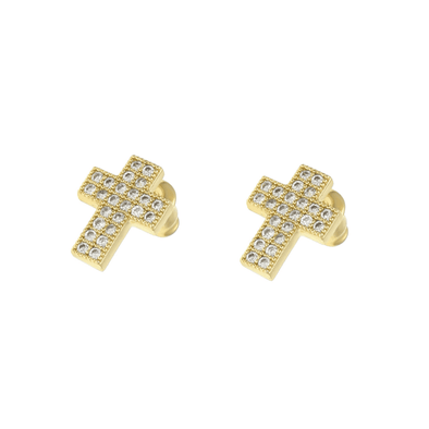 Cross Cz Diamond Earrings Gold