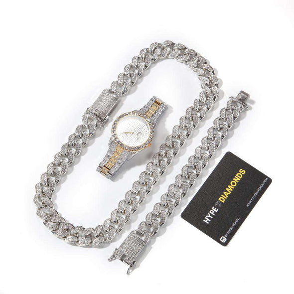 (Bust-Down Set) Gold Cuban Chain & Bracelet Watch Two Tones / 8Inch And 24Inch