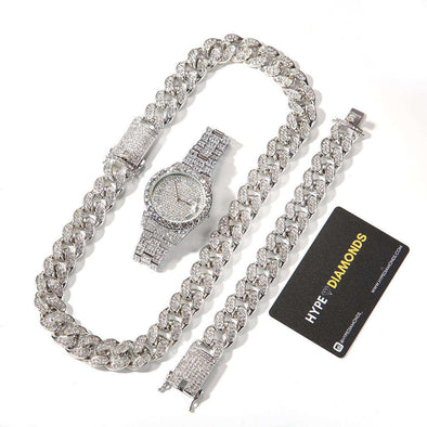 (Bust-Down Set) Gold Cuban Chain & Bracelet Watch White / 8Inch And 24Inch