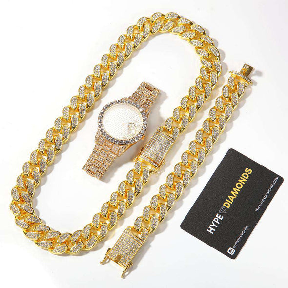 (Bust-Down Set) Gold Cuban Chain & Bracelet Watch Yellow / 8Inch And 24Inch