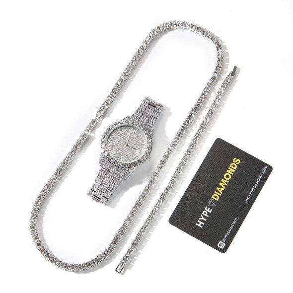 Tennis Premium Set (Limited Stock) White / 8Inch Bracelet 24Inch Necklace