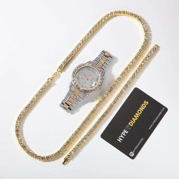 Tennis Premium Set (Limited Stock) Two Tones / Yellow 8Inch Bracelet 24Inch Necklace
