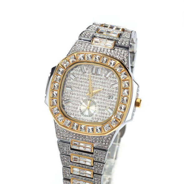 Bust-Down Patek Watch Two Tones Gold