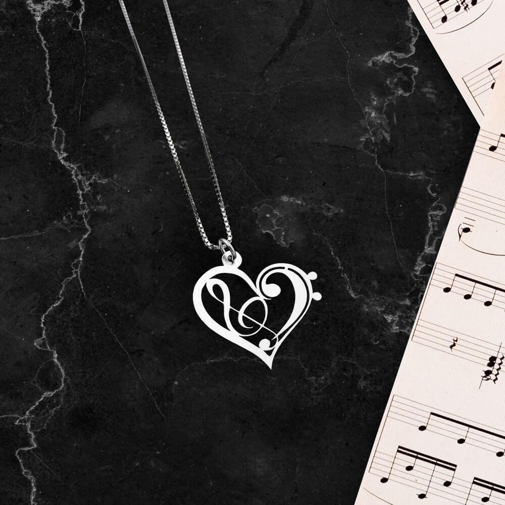 Treble and Bass Clef Necklace