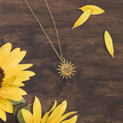 Smiling Sun and Moon Necklace