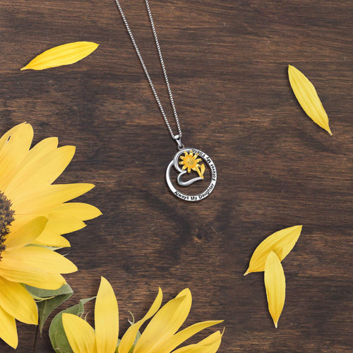 Always My Daughter Forever My Friend Sunflower Necklace